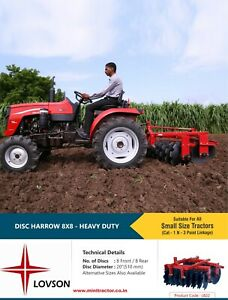 8 8 Discs Harrow Mini Tractor Implement As Hitch Attachment heavy Duty