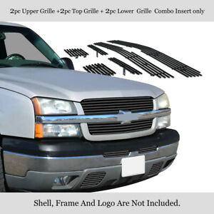 For 2003 2005 Chevy Silverado 1500 Stainless Black Billet Grille Combo