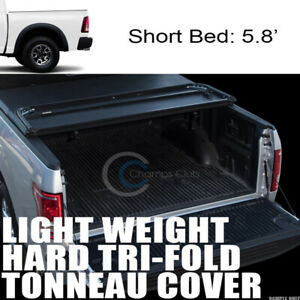Tri fold Hard Tonneau Cover Lw Fits 09 18 Dodge Ram 5 7 Ft 68 4 Truck Short Bed