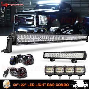 50 20 Led Work Light Bar Combo Truck Offroad 4wd Suv Utv For Chevy Ford 52 22