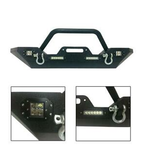 Front Bumper For 2007 2019 Jeep Wrangler Jk With Led Lights Winch Plate