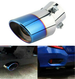 Blue Universal Chrome Stainless Steel Rear Round Exhaust Pipe Tail Muffler Tip