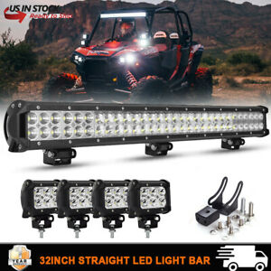 28 180w Led Work Light Bar 4 Cube Pods For 14 up Polaris Rzr 900 1000 30 32