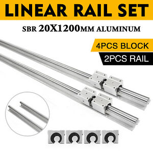 2pcs Sbr20 1200mm Linear Slide Guide Shaft Rail 4pcs Sbr20uu Bearing Block Cnc