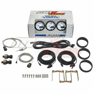 Maxtow White Blue 3 Gauge Diesel Set Boost Egt Fuel Pressure Gauges