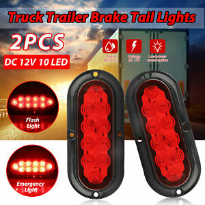 2pcs 6 Led Trailer Truck Stop turn tail Brake Lights 6 Oval Sealed Mount Red
