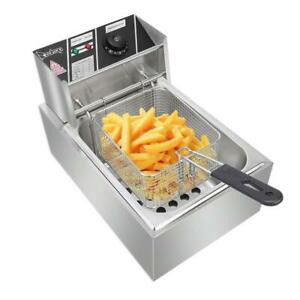 6l Electric Deep Fryer Commercial Restaurant Home Frie Stainless Steel 2500w