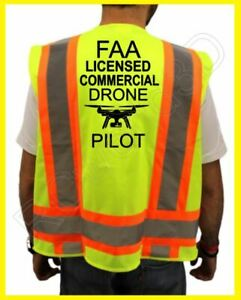 Faa Licensed Commercial Drone Pilot Safety Reflective Vest yellow black design