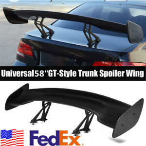 Matte Black Abs 58 Adjustable Wide Gt style Car Trunk Spoiler Wing Universal Us