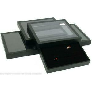 4 36 Slot Black Ring Display Acrylic Lid Case