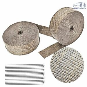 2 Rolls X 2 50ft Titanium Header Manifold Exhaust Heat Wrap Tape 16 Ties