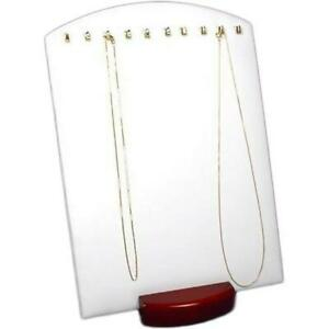 White Faux Leather Rosewood Necklace Pendant Jewelry Display Stand Kit 12 Pcs