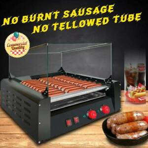 30 Hot Dogs Machine Commercial Electric 11 Roller Grill Cooker cover 1650w Ta