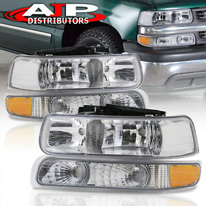 Chrome Amber Corner Bumper Head Lights Lamps Lh rh For 1999 2002 Chevy Silverado