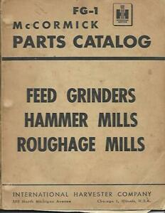 Ih Mccormick Feed Grinders Hammer Mills And Roughage Mills Parts Catalog