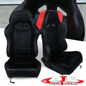 Pair Pvc Leather Red Stitching Racing Seat With Sliders Black Supra Mr2 Celica