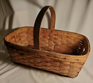 Antique Ash Gathering Basket Primitive Large Splint Woven Beauty