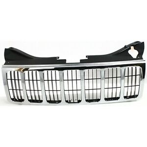 Grille For 2005 2007 Jeep Grand Cherokee Chrome Shell W Black Insert Plastic