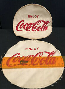 Pair Of Vintage Coca-Cola Button Patches White 6.5 Inches