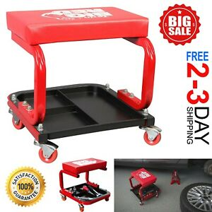 Rolling Creeper Seat Mechanic Stool Chair Garage Workshop Tools Onboard Storage