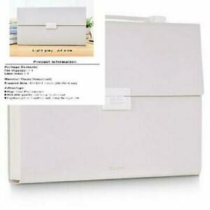 Freude Expanding File Folder A4 Size With Handle buckle Closure Light Grey