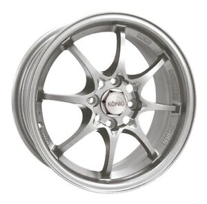 15x6 5 Konig Helium 4x100 40 Silver Wheels set Of 4