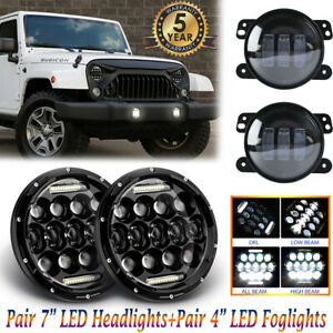 Pair 7 Led Headlights Drl pair 4 Led Fog Lights For Jeep Wrangler Jk Liberty