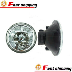 7 Inch Universal Round Cut Chrome Front Clear Glass Lens Diamond Headlights