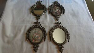Lot Of 4 Vtg Brass Ornate Oval Picture Frames Made In Italy 2 Mirror
