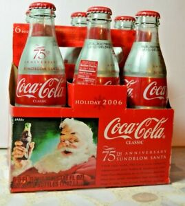 2006 Coca-Cola-75th Anniversary-Sundblom Santa Holiday Full 6-pack 8oz Bottles