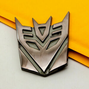 3d Transformers Decepticon Logo 4 Matte Finish Aluminum Emblem Badge Decals Car