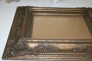 Antique Wood Ornate Frame W Glass Flowers