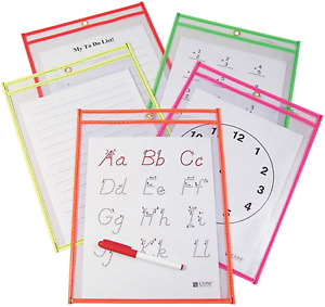 C line Reusable Dry Erase Pockets 9 X 12 Inches Assorted Neon Colors 10 Per