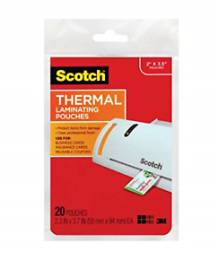 Scotch Thermal Laminating Pouches 2 3 X 3 7 inches 20 pack