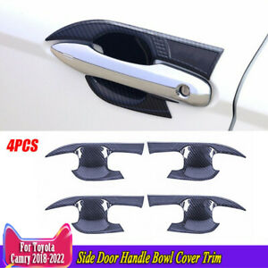 4pc For Toyota Camry 2018 2021 Carbon Fiber Abs Side Door Handle Bowl Cover Trim