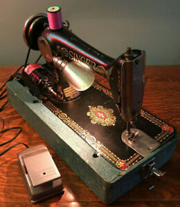 1910 Antique Singer Electric Sewing Machine G Series Serial G6952356 Lighted