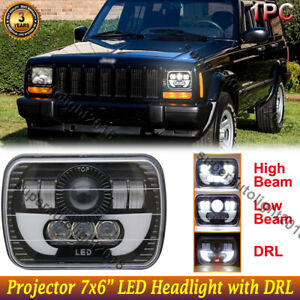 For Jeep Cherokee Xj Wrangle Yj 7x6 Led Headlight With Halo Drl Projector Beam