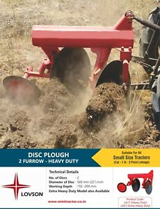 2 Furrow Heavy Duty Disc Plough Mini Tractor Implement With 22inch Disc Diameter