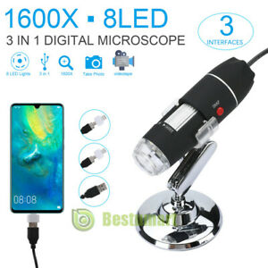 20x 1600x 8 Led Digital Microscope Camera Handheld Usb Magnification Endoscope