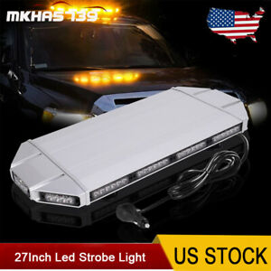 27 Inch Rooftop Led Strobe Light Bar Amber Emergency Warning Light 56 Leds 12v