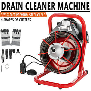 50ftx 3 8 Commercial Drain Cleaner Cleaning Machine Sewer Snake Plumbing Tool