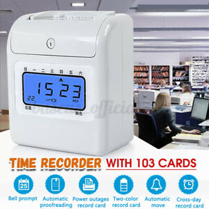 Employee Time Attendance Digital Clock Electronic Recorder Bundy 103 Timecards
