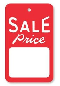 1000 All Purpose Red White Sale Price Unstrung Small Merchandise Coupon Tags