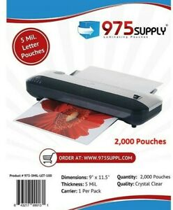975 Supply 5 Mil Letter Laminating Pouches 9 X 11 5 2 000 pack