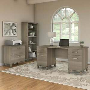 Copper Grove Shumen 60 inch Office Desk With Cabinet And Gray 59 29 l X 29 21 w