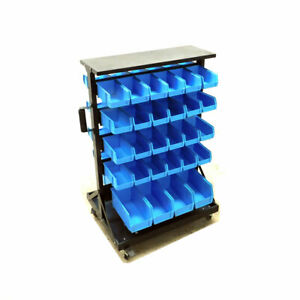 Storage Bin Rack Cart Rolling Parts 37 75 x 27 5 x 21 25 W 56 blue Olympic Bin