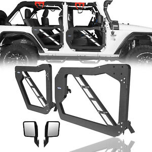Front Rear Trail Doors Guards W Side View Mirror For 07 18 Jeep Wrangler Jk