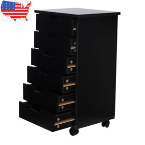 Wood Filing Cabinet Mobile Rolling Storage Organizer Home Office 6 Drawer Us