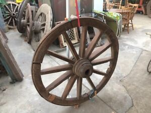Large Antique Indian Wood Wooden Cart Wheel Oxcart Heavy Originals