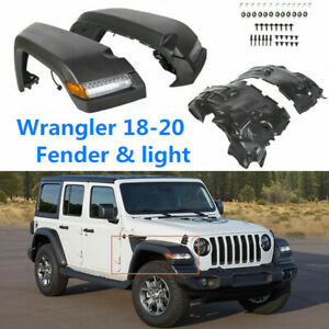 For Jeep 18 20 Wrangler Jl High Top Front Fender Flares W Lights Inner Liners